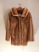 Caramel mink jacket with half belt
