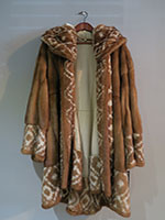 Honey mink swing coat with detachable hood