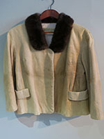 Pony skin box jacket with mink collar
