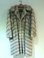 Grey chevron mink coat