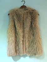 Pre-owned feathered fox pink gilet