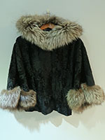 Broadtail lamb cape with arctic fox trim