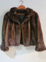 Brown mink jacket with extra long sleeves