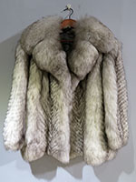 Fox jacket with feathering detail