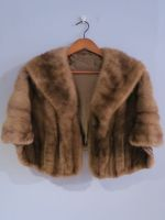 Chestnut brown mink cape with pockets