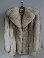 Long 'Saga' silver fox jacket