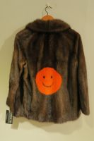 Mid brown vintage mink jacket with orange mink smiley