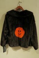 Mahogany mink jacket with orange mink smiley