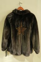 Mahogany mink jacket with leopard print star and Pucci silk lining