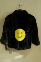 Black mink jacket with yellow mink smiley