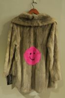 Grey mink jacket with bright pink smiley