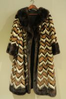 Multi coloured chevron mink coat